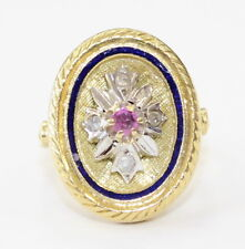 18k Yellow Gold Pink Sapphire Enamel Oval Shaped Ladies Ring~ 8.9g