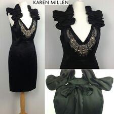 Karen Millen Soie Noire Cristal Collier Embelli Robe 10 Parti ~ PROMO ~ Cruise