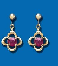 9ct Yellow Gold Real Ruby Drop Earrings