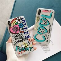 Cute Transparent Graffiti Girls Phone Case Colorful Cover For iPhone 11 Pro XR