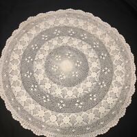 """Vintage Antique Hand Crocheted 30"""" Rd Table Topper Centerpiece Ivory Cottage EUC"""