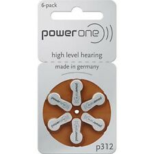 Hearing Aid Battery powerone P312 P 312 Wholesale lot 6 X 1