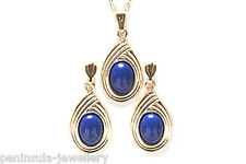9ct Gold Lapis Lazuli Pendant Necklace and Earring Set Gift Boxed Made in UK