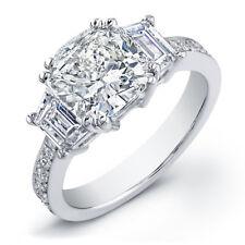 1.87Ct Cushion Cut Trapezoids Diamond 3 stone Engagement Ring Egl USA 14K Gold