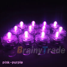 12x LED Waterproof Flameless Battery Tea Light Candles pink purple Party Decor