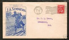 Canada Sc 90 on 1908 J.A. Simmers Advertising Cover