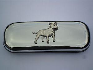 STAFFORDSHIRE BULL TERRIER dog brand new chrome glasses case great gift!!