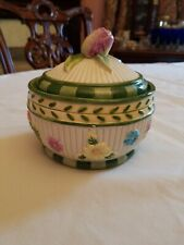 Fitz Floyd Pink Tulip flower finial flowers floral green trim Covered Box tb719