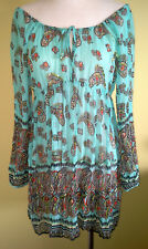 Ladies Womens Boho Dress Sheer Long Sleeve Casual Party Wallis Size S (8-10)