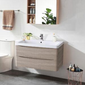 800mm Bathroom Vanity Unit Wall Hung Cabinet Basin Sink Furniture Light Oak