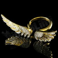 18K Gold Plated Flooded Out Iced CZ WINGS ANGEL Micro Pave Band Rhodium Ring