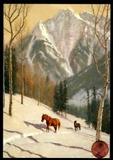Christmas Horses Mountain Walking in Snow Trees - Christmas Greeting Card New