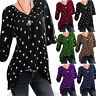 Womens Summer Casual T-shirt Star Print Blouse Short Sleeve Loose Tops Plus Size