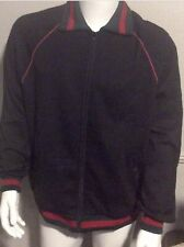 Black Track Jacket with Red And Green web collar. Sizes from Small - 3XL