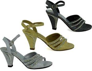Ladies New Strictly Block Heel Peep Toe Wedding/Formal Women Sandal UK Size 3-8