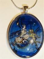 SILVER PLATED PENDANT NECKLACE WITH FAIRIES - FREE UK P&P....CG0939