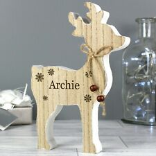 Personalised Any Name Rustic Wooden Reindeer Christmas Xmas Home Decoration