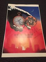 """AUTHENTIC TIME AFTER TIME SIGNED Malcolm McDowell  MOVIE POSTER SHEET 17""""x11"""""""