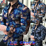 Men Printed Shirt Button Down Slim Fit Blouse Muscle Long Sleeve Tops Casual US