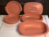 TUPPERWARE Microwave Steamer 6 Cups Dusty Rose Pink 3 PC. ++ #2525 2 pc bowl/lid