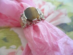 VINTAGE JEWELRY SOLID GOLD STERLING SILVER RING TIGER EYE GEM ANTIQUE JEWELRY 10