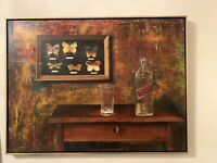 Painting Oil On Canvas, Original Mid Century Modern Abstract Still Life Papay P.