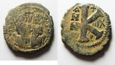Zurqieh -as8172- Byzantine Empire. Justin Ii & Sophia Bronze Half Follis