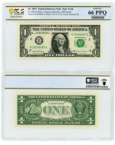 2017 COIN & CURRENCY SET $1 FEDERAL RESERVE NOTE NEW YORK PCGS GEM UNC 66 PPQ M4