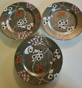 "1982 Fitz & Floyd ""Fleurs Platinees"" #135. Salad plates 7.5"" Set of 3. Gorgeous"