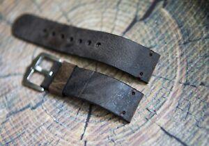 Gray leather watch strap 18mm 19mm 20mm 21mm 22mm 23mm 24mm 25mm handmade