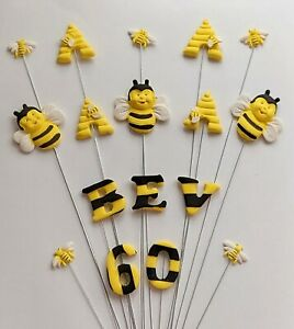 Bee, beehive birthday cake topper, personalised name and age, hand crafted
