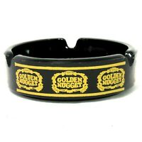 Vintage Golden Nugget Las Vegas Casino Black Glass Ashtray