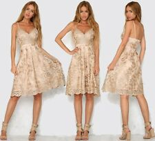 Abito Aperto ricamato Top Gonna Nudo Pailette Cerimonia Party Sequin Dress M