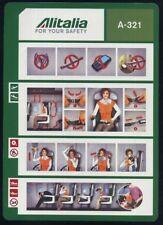 Alitalia Airbus A 321 Airline SAFETY CARD memorabilia Size A4 no date sc325 aa