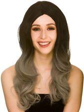 Donna Parrucca sole sfumati grigio nero adulto Strega Vampiro Halloween Fancy Dress accessorio