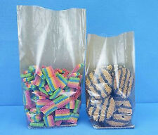 50 COUNT LOT OF HARD BOTTOM CELLO KRAFT BACKED CANDY COOKIE GIFT BAGS 120X260