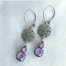 Swarovski crystal antique silver plated earrings handmade