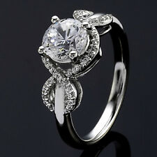 Pave Halo .90 Carat VS2/H Round Cut Diamond Engagement Ring White Gold
