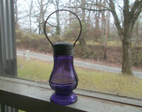 ANTIQUE 1904 DATED AMETHYST GLASS LANTERN CANDY CONTAINER ORIGINAL BRASS LID