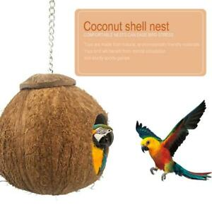 Coconut Shell Bird House Hut Cage Feeder Toys For Pet Parrot Budgie  Nest House