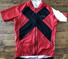 "Gore Bike Wear Cycling Jersey Size Large Full Zip Red & Black ""X"" Print"