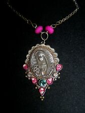 NWT~Lady Virgin Of Guadalupe Religious Crystal Stone Pendant Necklace~Barbosa