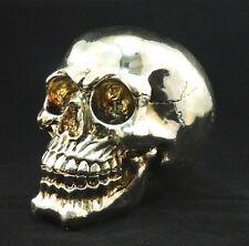 "Chrome Silver Skull Figure Figurine Statue Sculpture 6"" Long"