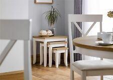 Julian Bowen Davenport Oak Ivory Nested Nest of 3 Tables Solid Wood