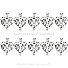 K334 10X/lot Silver 30mm Oval Heart Love Pearl Beads Oysters Cage Pendant Locket
