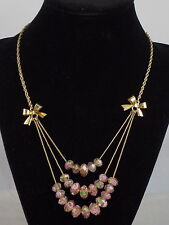 Betsey Johnson Goldtone Pink Flower Glass Bead Rose Bows Layer Necklace $42