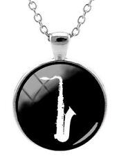 Anhänger Halskette Bedruckt Alt Saxophon Weiß auf Unterseite Schwarz