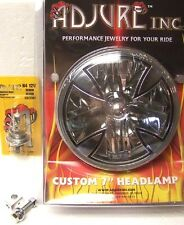 "ADJURE 7"" HARLEY MOTORCYCLE IRON CROSS HEADLIGHT LAMPS LIGHTS FREE BLOCK BOLT"