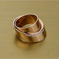 Unique Geometry 18K Rose Gold Filled Wedding Ring Women Engagement Jewelry Gifts