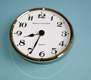 Radio Controlled 100mm Brass Bezel Insertion Clock MSF UK